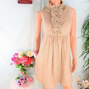 ABS Beige Silver Print Ruff Neck Trapeze w Pockets